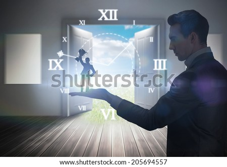 Businesswoman showing a cup held by giant businessman against open doors leading to sunny landscape