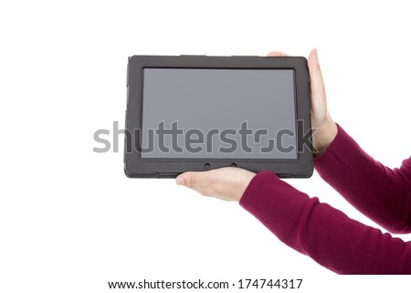 businesswoman showing a tablet pc, isolated
