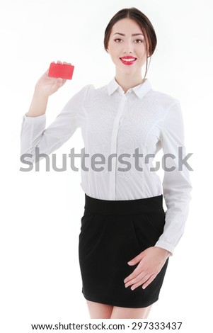 Businesswoman with a blank business badge isolated on white