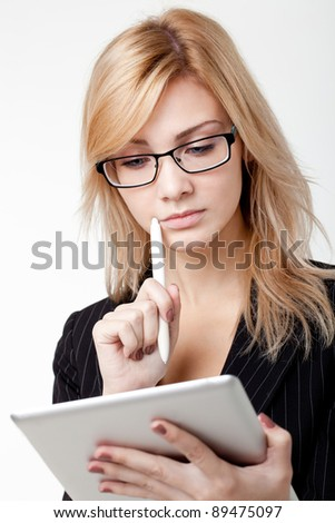Businesswoman with electronic pad