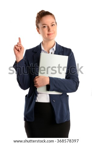 Businesswoman with folder and finger up, isolated on white background