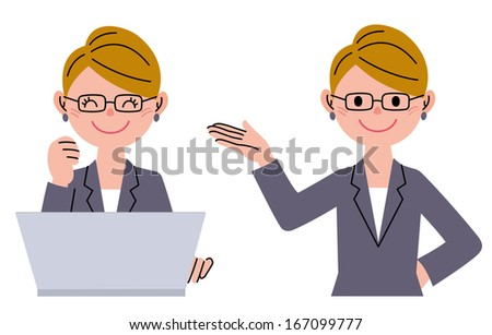 Businesswoman, with laptop computer, introducing