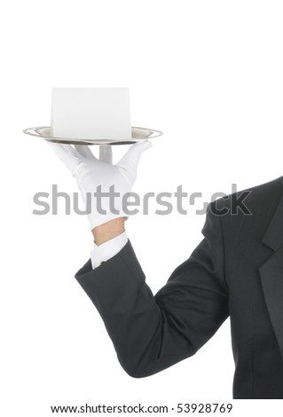 Butler wearing tuxedo and formal gloves holding a Blank Card on a silver tray. Shoulder hand and arm only isolated on white vertical composition.