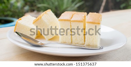 Butter cake sliced on dish