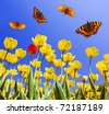 Butterflies on yellow tulips - stock photo