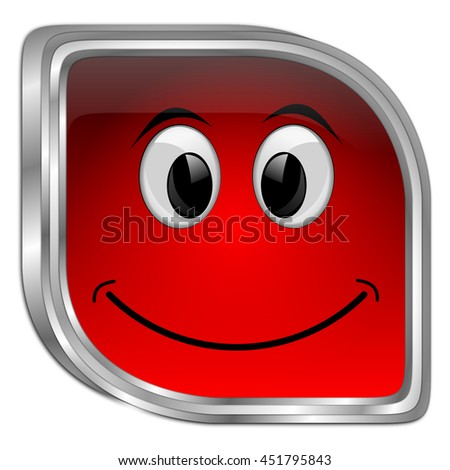 Button with smiling face - 3D illustration