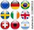 buttons of the eu, germany, brazil, sweden, ireland,united kingdom, switzerland, albania, and argentina isolated on white - stock vector
