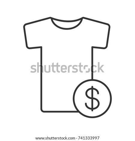 buy clothes linear icon thin line illustration t shirt with dollar sign