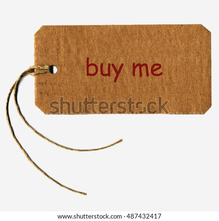 buy me tag with string isolated over white