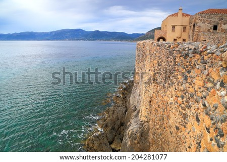 Byzantine town walls above the Mediterranean sea, Monemvasia, Greece