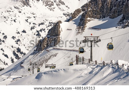 Cable car (gondola) Ski slope in winter at Obertauern resort, Salzburg area, Austria
