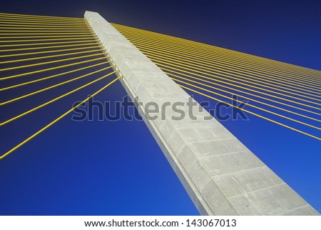 Cable tower of the Tampa Sunshine Skyway Bridge at Tampa Bay, Florida