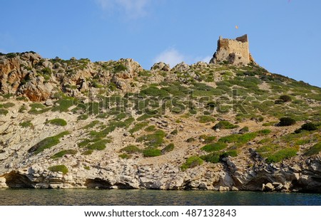 Cabrera seascape with medieval stronghold, Mallorca,  Spain