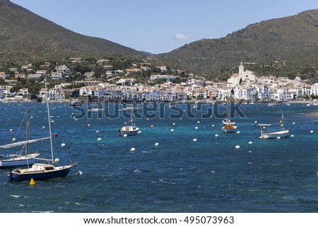 CADAQUES,SPAIN-MAY 21,2015:View of the town and shoreline  Cadaques,Costa Brava, province Girona, Catalonia.