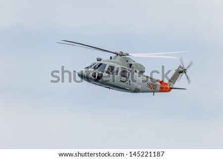CADIZ, SPAIN-SEP 13:  Helicopter Sikorsky S-76C taking part in an exhibition on the 2nd airshow of Cadiz on Sep 13, 2009, in Cadiz, Spain