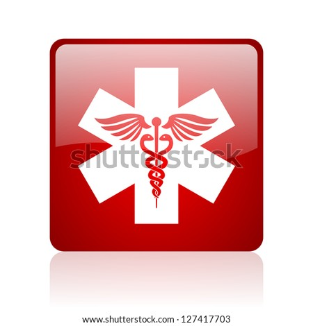 caduceus red square glossy web icon on white background