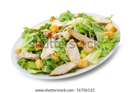 Caesar Salad on white background
