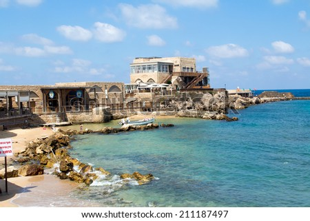 CAESAREA - JULY 08: One of the oldest cities in the Mediterranean Caesarea on Julay 8, 2014. Located between Tel Aviv and Haifa near Hadera, built by Herod the Great as a port city.