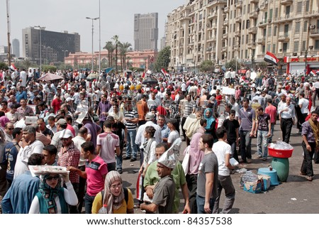 "CAIRO - SEPTEMBER 9: Thousands of Egyptians converged on Cairo's Tahrir Square to demand reforms in a turnout dubbed ""correcting the path of the revolution"" in  Cairo, Egypt on September 9, 2011"