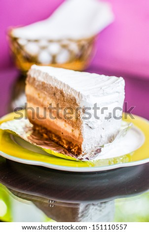Cake on a plate on table