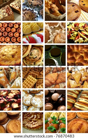 Cakes, desserts and pastries collage
