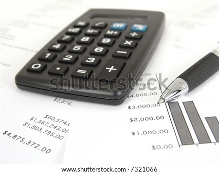 calculator and graph with pen