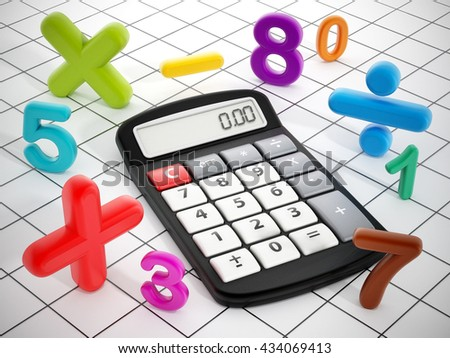 Calculator and mathematical symbols isolated on white background. 3D illustration