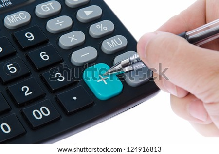 Calculator and pen isolated on white