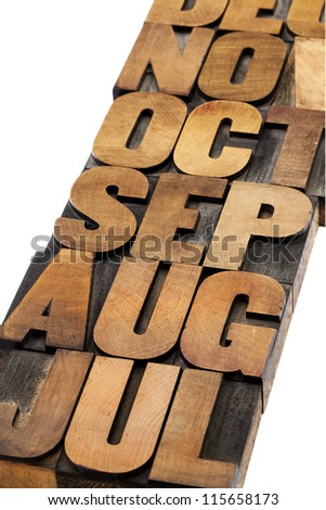 calendar abstract - 3 letter month symbol - isolated text in vintage letterpress wood type printing blocks