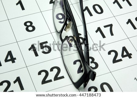 Calendar and glasses