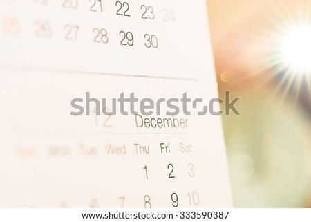calendar focus december month with flare for the next year