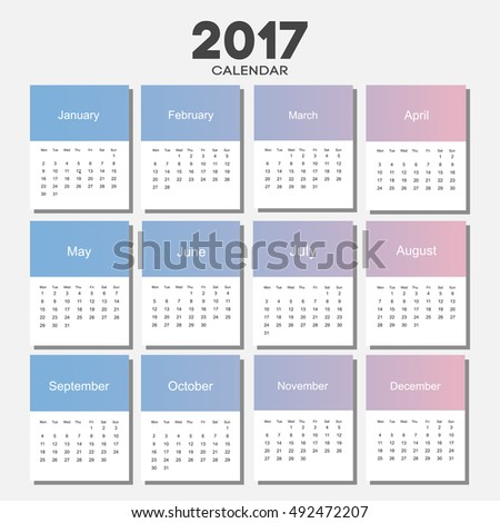 February 2017 Calendar Sheet Gradient Background Stock Vector