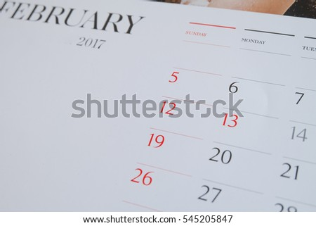 calendar page Valentine day  2017 concept.Close up  on Tuesday 14 February