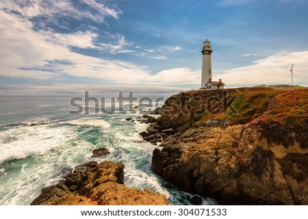 California Pigeon point Lighthouse in Cabrillo Hwy