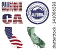 California state collage (map, stamp,word,abbreviation) in different styles in different textures - stock photo