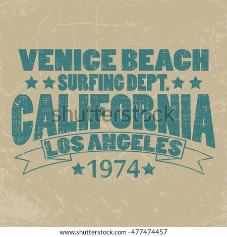 California surf typography, t-shirt graphics, Abstract, Stock Illustration.