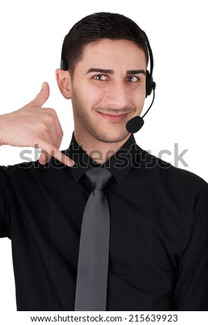 Call Center Man with Headset Isolated on White - Young man with headset isolated on a white background