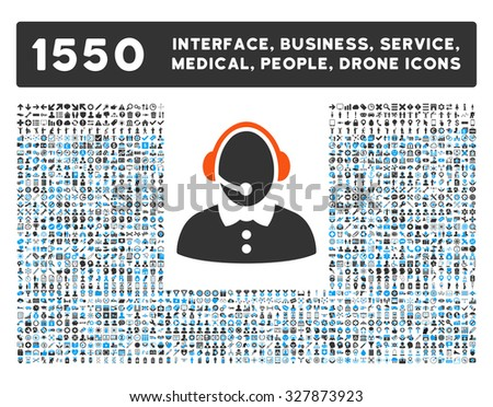 Call Center Woman and other web interface, business tools, people poses, medical service glyph icons. Style is flat symbols, bicolored, rounded angles, white background.