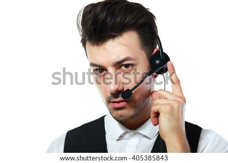 Call centre agent using headset and touching it on white background