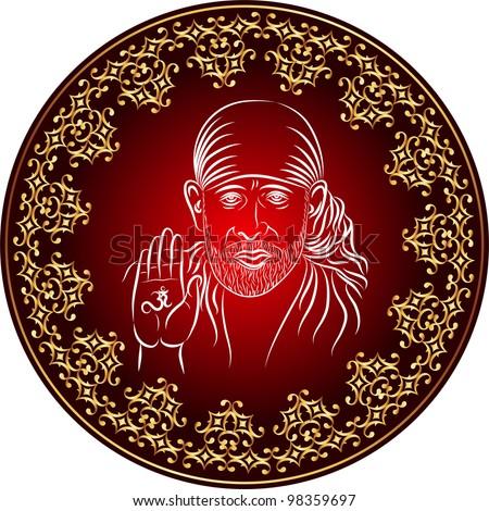 Calligraphic Shirdi Sai Baba Stock Photo