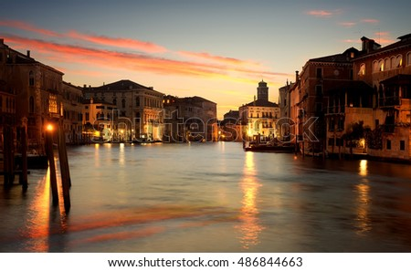 Calm morning on Grand Canal in Venice, Italy