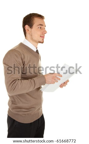 Calm young businessmen man with documents, side view. Isolated on white background.