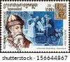 "CAMBODIA - CIRCA 2001: A stamp printed in Cambodia from the ""Millennium "" issue shows Johannes Gutenberg, printers, circa 2001.  - stock photo"