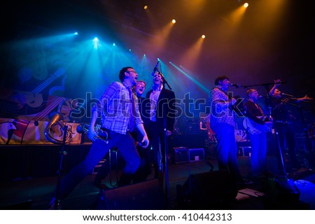 "CAMBRIDGE, UNITED KINGDOM - APRIL 24, 2016: Bellowhead performs live at the Corn Exchange on ""The Farewell Tour"""