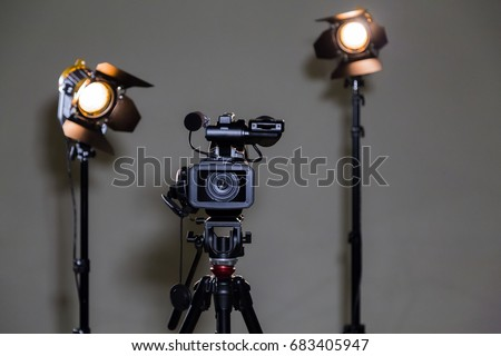 video camera camcorder on tripod two stock photo 565890643 shutterstock. Black Bedroom Furniture Sets. Home Design Ideas