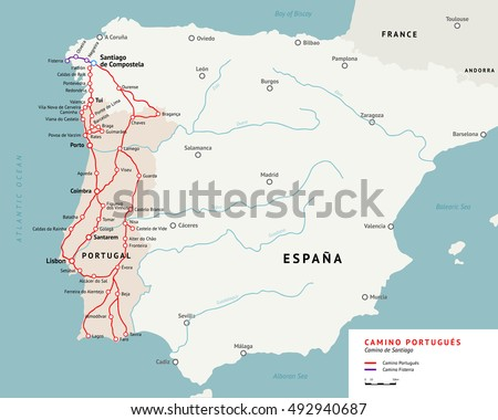 Camino Portugues map. Camino De Santiago or The Way of St.James. Ancient pilgrimage path from south of Portugal to the Santiago de Compostella.