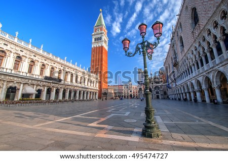 Campanile of St Mark's Church and St Mark's Square, Venice, Italy