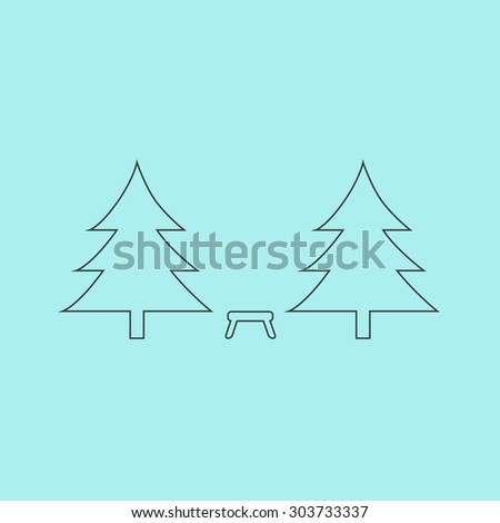 Camping among the trees. Outline simple flat icon isolated on blue background