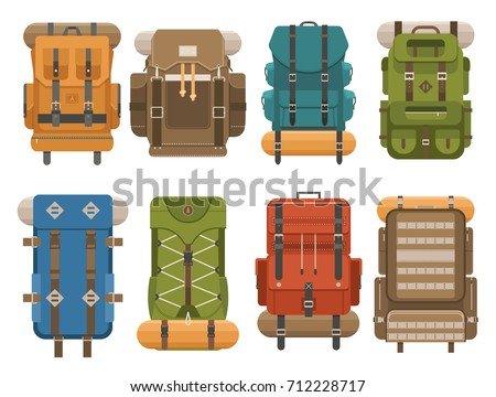 Camping Backpack Set In Flat Design Tourist Retro Rucksaks Illustration Classic Styled Hiking Back