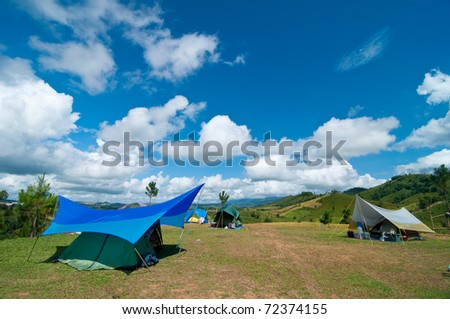 Camping on the field in a sparkle day